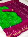 Pure Cotton Bandhani Saree, Packaging Type: Polly Bag