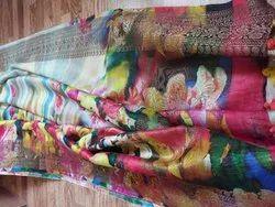 Digital Print Party Wear Banarasi Silk Sarees With Blouse Piece