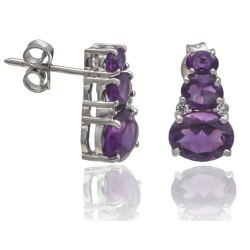 925 Amethyst Earrings Sterling Silver