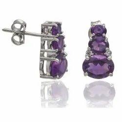 Amethyst Earrings in 925 Sterling Silver