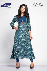 Blue Rayon Print Kurti, Size: M and L