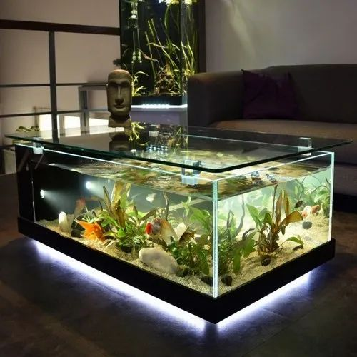 Glass Flash Light Coffee Table Aquarium Packaging Type Wooden