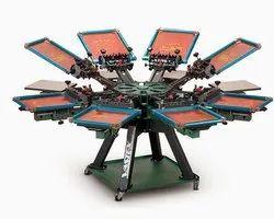 T Shirt Printing Machine - Screen Printing Machine 6 Station 6 Wooden Plates 1 Gas Heater
