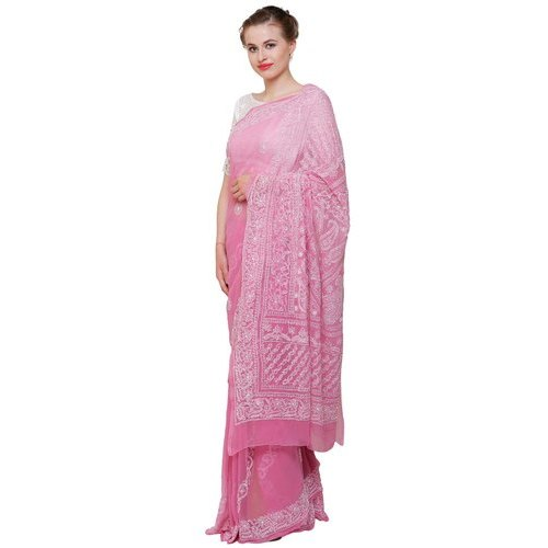 Party Wear Ladies Pink Chikankari Saree, 5.5 Meter, With Blouse Piece