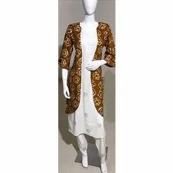 Rayon Hand Block Gold Print Kurti WITH PANT