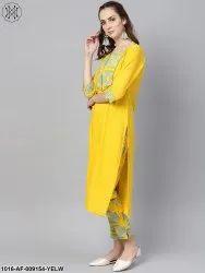 AASI Cotton Solid Yellow Kurta Set with Front Printed Yoke & Printed Pants