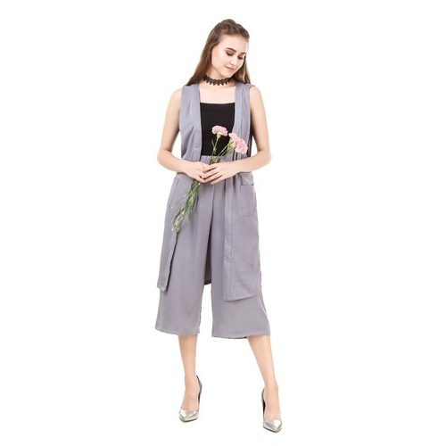 7a278d693c281 Medium And Large Party Wear Ladies Top And Cropped Palazzo Pant With Shrug