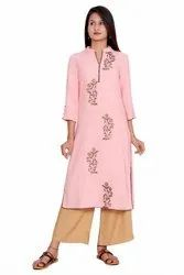 Rayon Straight Embroidered Long Kurti