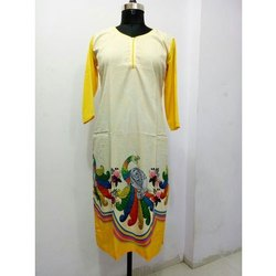 Ladies Stylish Silk Printed  Kurti
