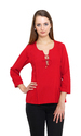 Women's Red Crepe String Knot 3/4th Sleeve Top