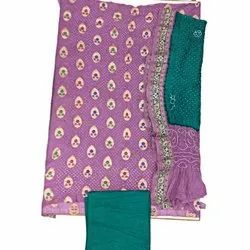 Light Purple and Green Color Fancy Design Gadhwal Bandhani Dress Material