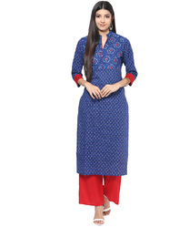 Jaipur Kurti Blue Embroidered Kurta, Size: Small, Medium, Large, Extra Large