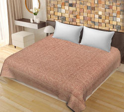 SAAVRA Brown Color Cut Work Cotton Double Bedsheet