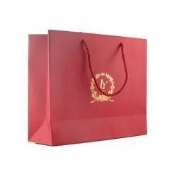 Paper Rope Handle Red Printed Shopping Bag, Capacity: 1-3 Kg