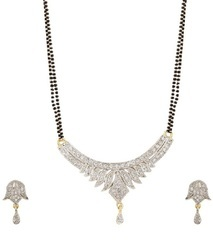 American Diamond Silver Necklace Set For Women And Girls