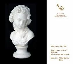 Young Girl White Marble Bust