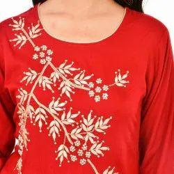 Party Wear Straight Ladies Designer Rayon Handwork Kurti, Age Group: 18+, Dry clean