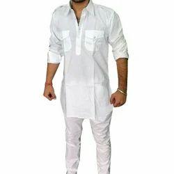 Cotton Casual Wear Mens White Hunting Kurta Pajama, Handwash