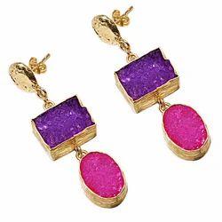 Ladies Druzy Stone Earring