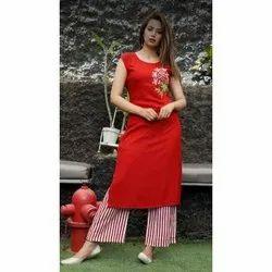 Rayon Casual Wear Ladies Short Sleeveless Kurti With Palazzo Pant