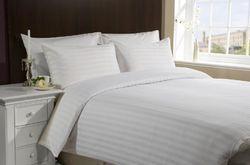 White Satin Strips Bed Sheet