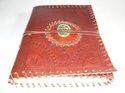 Binding Handmade Leather Journal with Stone