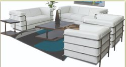 White Stainless Steel Sofa Set