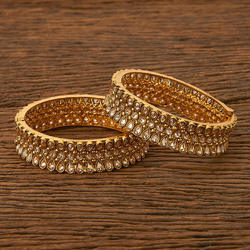 Kanhai Jewels and Brass Antique Openable Bangles with gold plating 20263