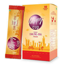 Happy cup Blended Masala Unsweetened Instant Chai Premix Single Cup Sachets, 8 gm X 10, Granule