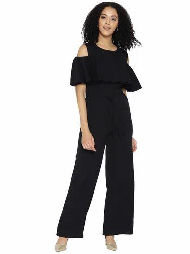 1e160380611 Women Polyester Cold-Shoulder Plain Jumpsuit