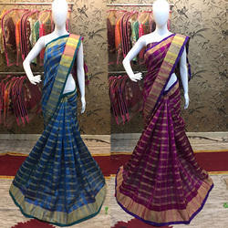 Party Wear Woven Chex Cotton Silk Saree
