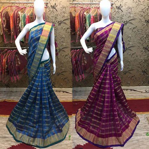 Party Wear Woven Chex Cotton Silk Saree