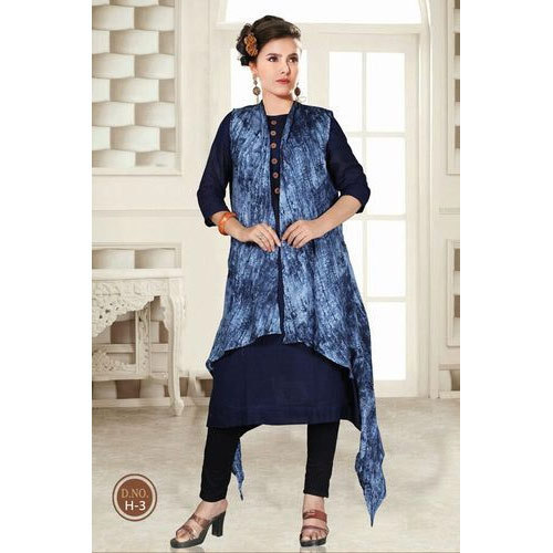 c2ce6ecd39 A-Line Printed Long Shrug Cotton Kurti, Rs 675 /piece, Riddhi Siddhi ...