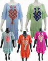 Bottom Gathering 3/4 Sleeves Embroidery Tunic