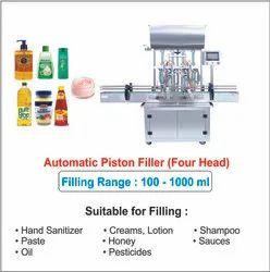 Automatic Shampoo Filling Machine / 4 Head Pneumatic Piston Filler