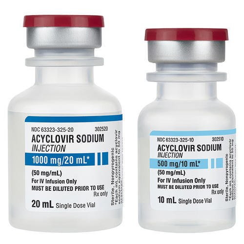50mg/ml Acyclovir Sodium Injection, 10ml, 20ml Single Dose Vial, Packaging  Type: Glass Bottle, Rs 150 /piece | ID: 19019802112