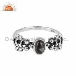 Black Rutile Gemstone Antique Oxidized 925 Silver Rings