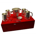 Party Set Silver Plated Ber Mug With Ice Cube Tub
