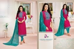 Mirror Work Collar Neck 3/4 Slevee Madhushala Salwar Suit Fabric