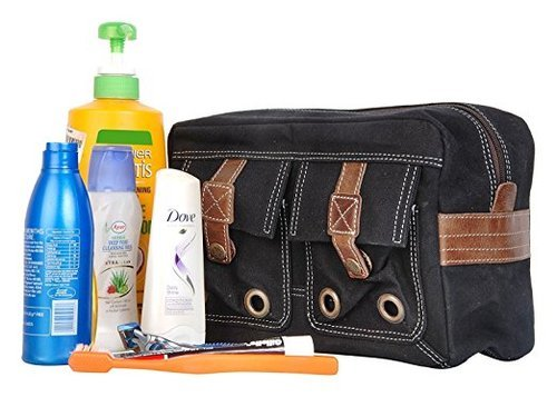 Black I Blue DOPP KIT Shave And Toiletries Travel Bag In Waxed Canvas 36f1f98089ed6