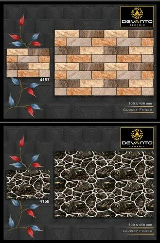Stone Gloss Elevation Wall Tiles ( Glossy Finish ) (4157 to 4160), Size/Dimension: Medium, Thickness: 9 mm