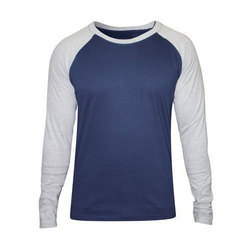 Blue and Grey Cotton Mens Full Sleeves T-Shirt