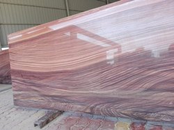 Red Polished Wooden Style Granite Slab, For Flooring, Thickness: 12-20 mm