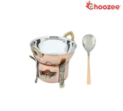 Choozee -Copper/Steel Serving Item Set of 3 Pcs (Including Food Warmer, Kadhai and Serving Spoon) (6
