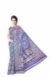 All Over Blue Color Dupion Silk Bandhani Saree