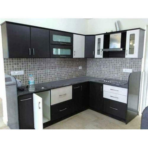 Black And White Modular Kitchen Rs 1200 Square Feet Sunshine Modulars Id 19746874848