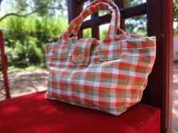 Check Red And White Shopper Bags