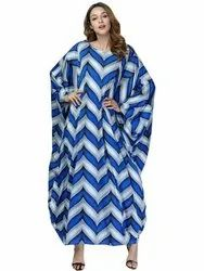 JSDC Inc. 3/4th Sleeves Women Digital Printed Soft Rayon Cotton Kaftan Kurta, Size: Free Size