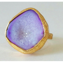 Handmade Druzy Gemstone Exclusive Brass Gold Plated Ring