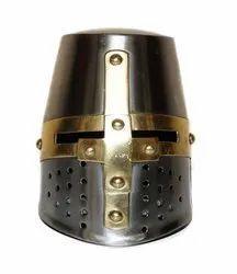 Home Decorative Table Top Mini Armour Templar Crusader Knight Helmet Steel Halloween Gift